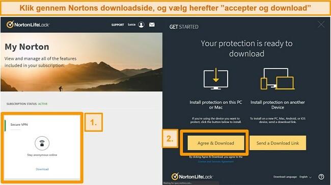 Skærmbilleder af Norton Secure VPN'er My Norton og download-sider