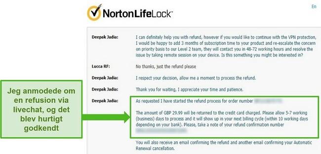 Skærmbillede af anmodning om refusion gennem Norton Secure VPNs 24/7 live chat