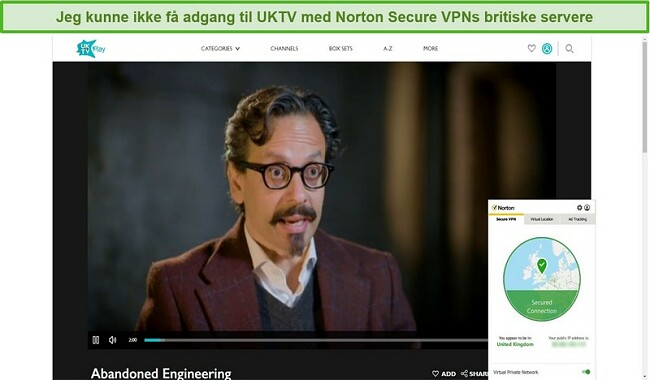 Skærmbillede af Norton Secure VPN, der blokerer for UKTV og streamer Abandoned Engineering