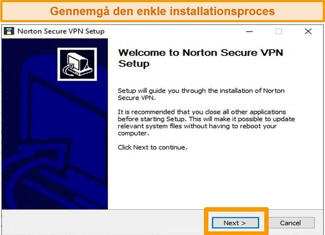 Skærmbillede af første trin i Norton Secure VPNs Windows-installationsproces