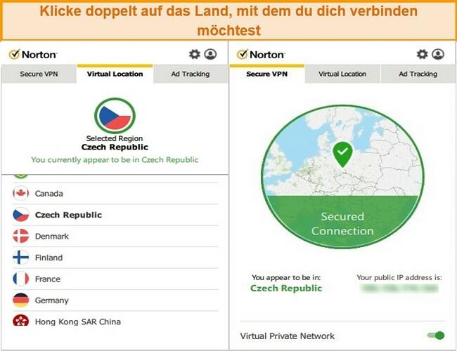 Screenshot von Norton Secure VPN, das mit einem Server in der Tschechischen Republik verbunden ist