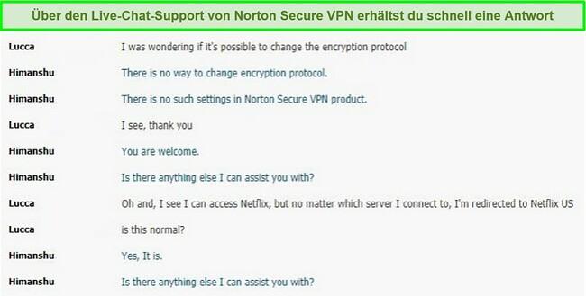 Screenshot eines Live-Chat-Gesprächs mit Norton Secure VPN-Unterstützung