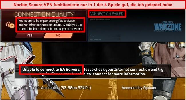 Screenshot von Norton Secure VPN, das Verbindungsprobleme in Online-Spielen verursacht