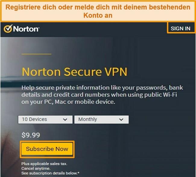 Screenshot der Kaufseite von Norton Secure VPN