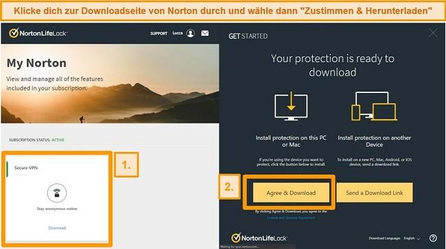 Screenshots von Norton Secure VPNs My Norton und Download-Seiten