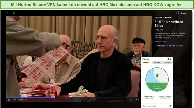 Screenshot von Norton Secure VPN, das HBO Max entsperrt und Streaming Curb Your Enthusiasm