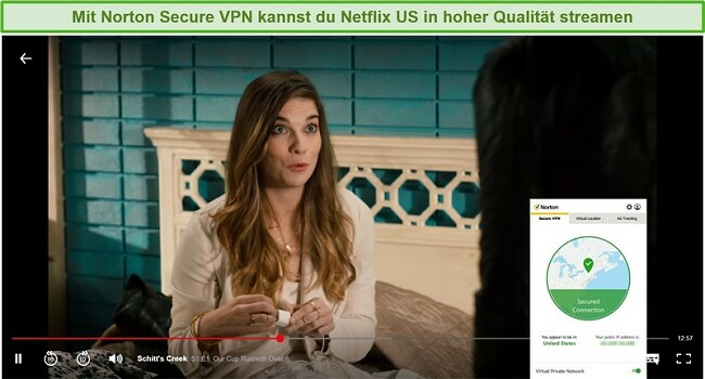 Screenshot von Norton Secure VPN, das Netflix US entsperrt und Schitt's Creek streamt