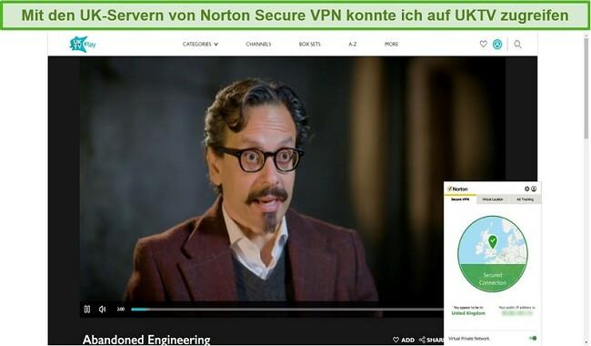 Screenshot von Norton Secure VPN, das UKTV entsperrt und Abandoned Engineering streamt