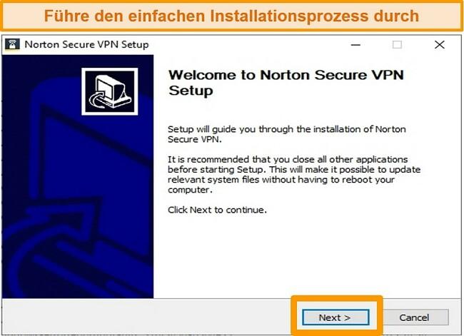 Screenshot des ersten Schritts des Windows-Installationsprozesses von Norton Secure VPN