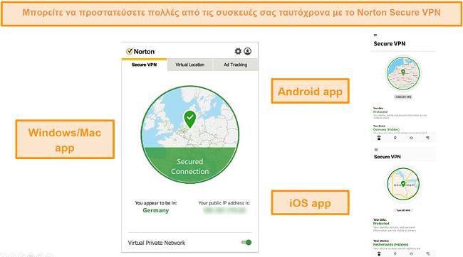 Στιγμιότυπα οθόνης εφαρμογών Norton Secure VPN Windows, Mac, Android και iOS.