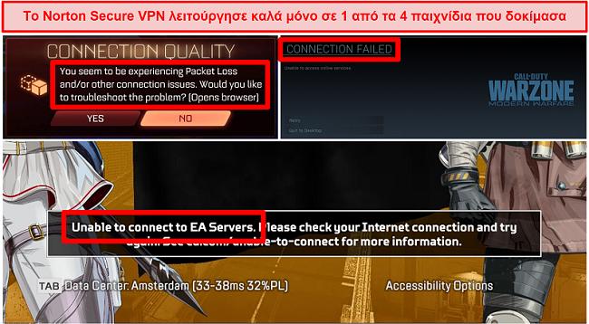 Στιγμιότυπο οθόνης του Norton Secure VPN που προκαλεί προβλήματα συνδεσιμότητας σε διαδικτυακά παιχνίδια.