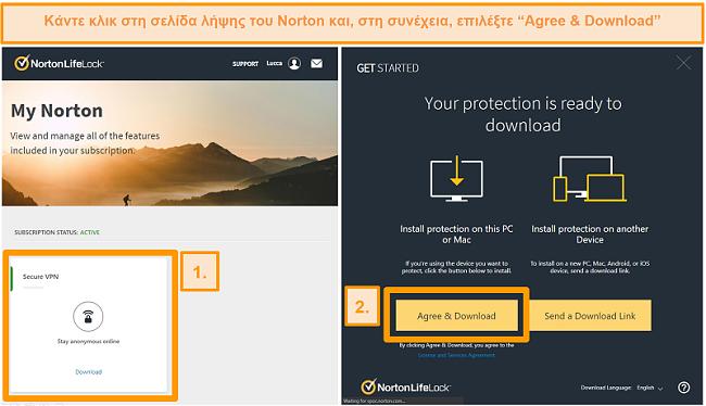 Στιγμιότυπα οθόνης των Norton Secure VPNs My Norton και σελίδες λήψης.