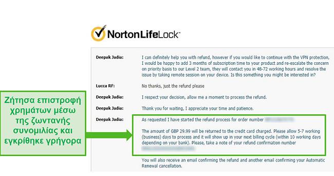 Στιγμιότυπο οθόνης αίτησης επιστροφής χρημάτων μέσω της ζωντανής συνομιλίας 24/7 του Norton Secure VPN