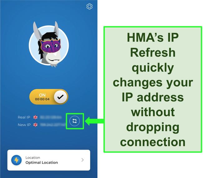 Screenshot of HMA's IP Refresh feature