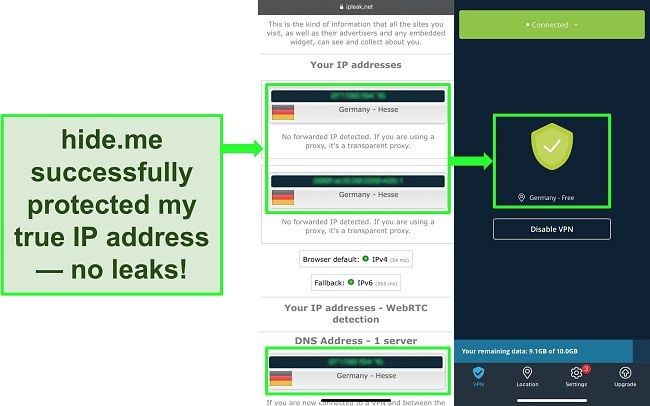 Screenshot highlighting no IP or DNS leaks on a hide.me VPN connection