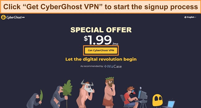 Screenshot of CyberGhost's WizCase deal page with