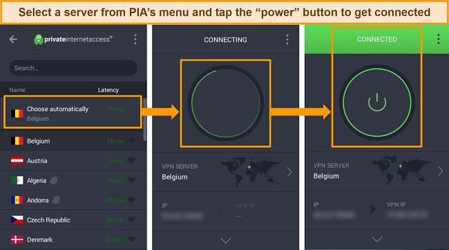 Screenshots of the PIA Windows app with instructions for connecting to a server.
