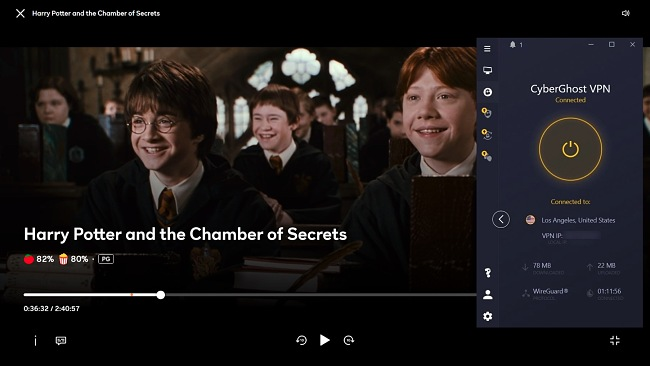 Screenshot of CyberGhost unblocking Harry Potter and the Chamber of Secrets on Peacock.
