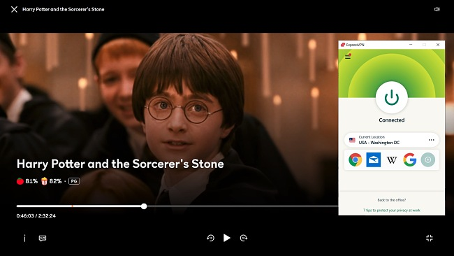 Screenshot of ExpressVPN unblocking Harry Potter and the Sorcerer's Store on Peacock.