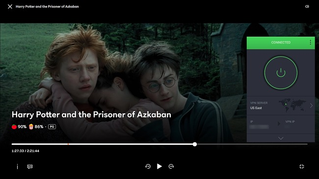 Screenshot of PIA unblocking Harry Potter and the Prisoner of Azkaban on Peacock.