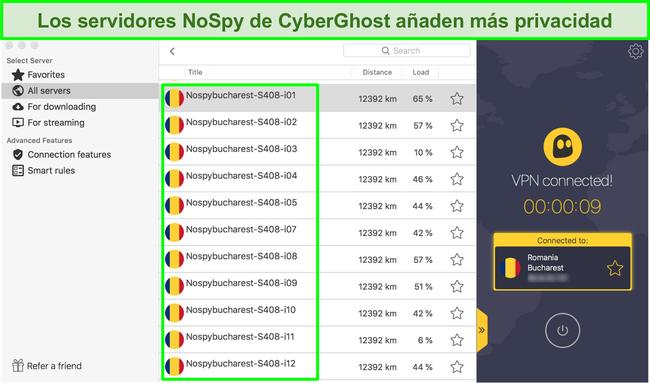 Captura de pantalla de la interfaz de CyberGhost VPN que muestra sus servidores NoSpy