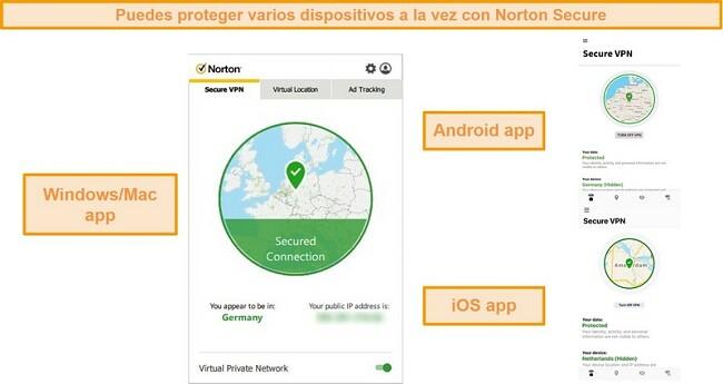 Capturas de pantalla de las aplicaciones Norton Secure VPN para Windows, Mac, Android e iOS