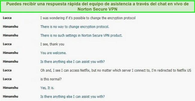Captura de pantalla de una conversación de chat en vivo con el soporte de Norton Secure VPN