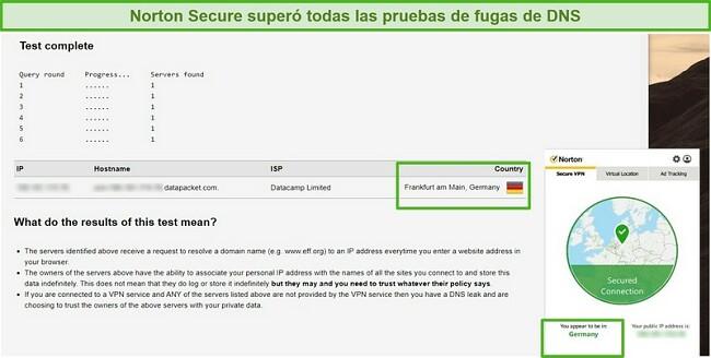 Captura de pantalla de Norton Secure VPN pasando una prueba de fugas de DNS.