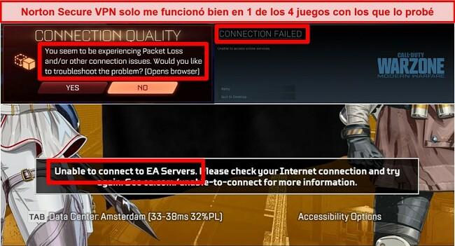 Captura de pantalla de Norton Secure VPN que causa problemas de conectividad en juegos en línea