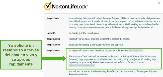 Captura de pantalla para solicitar un reembolso a través del chat en vivo 24/7 de Norton Secure VPN