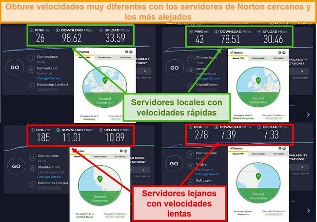 Captura de pantalla de las pruebas de velocidad de Norton Secure VPN mientras está conectado a servidores de Alemania, Reino Unido, EE. UU. Y Australia