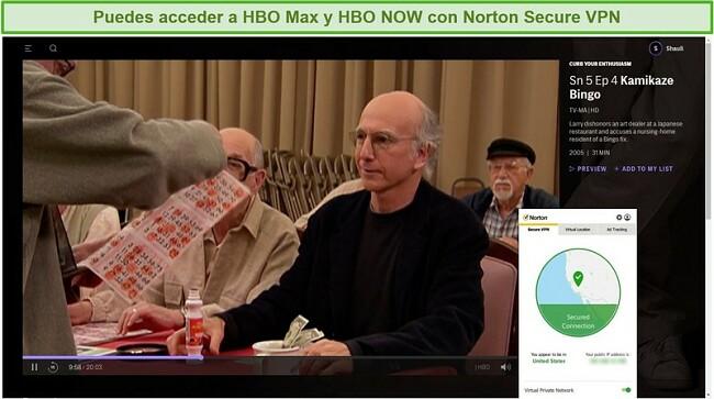 Captura de pantalla de Norton Secure VPN que desbloquea HBO Max y transmite Frenar su entusiasmo