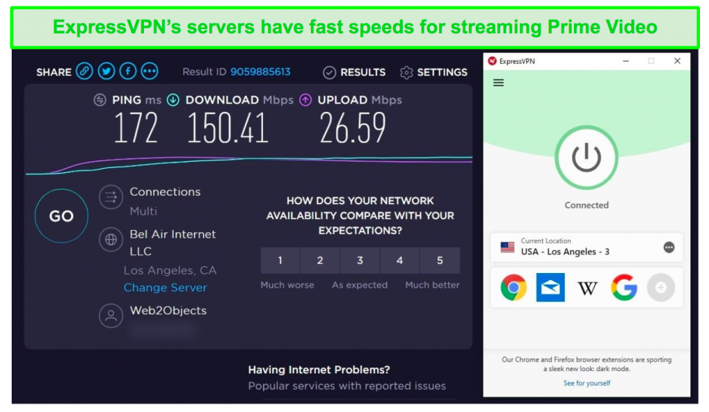 Screenshot of ExpressVPN's Los Angeles server speed test results with fast speeds