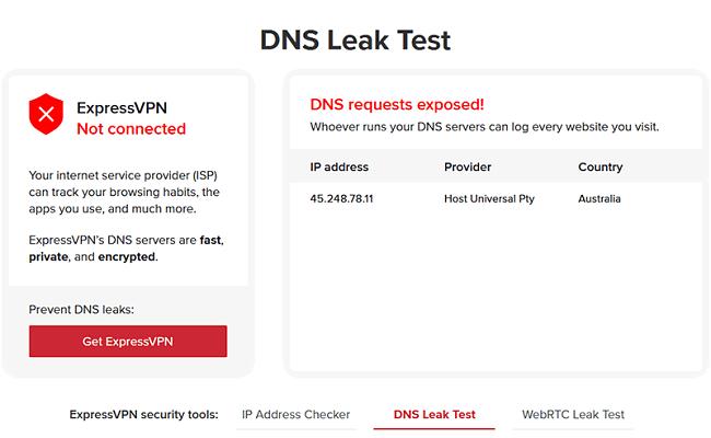 ExpressVPN dns leaks test