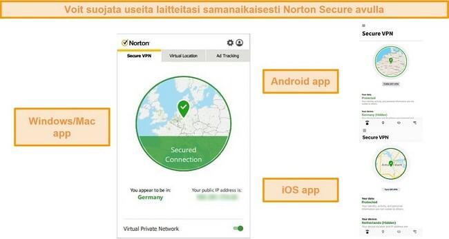 Näyttökuvat Norton Secure VPN Windows-, Mac-, Android- ja iOS-sovelluksista
