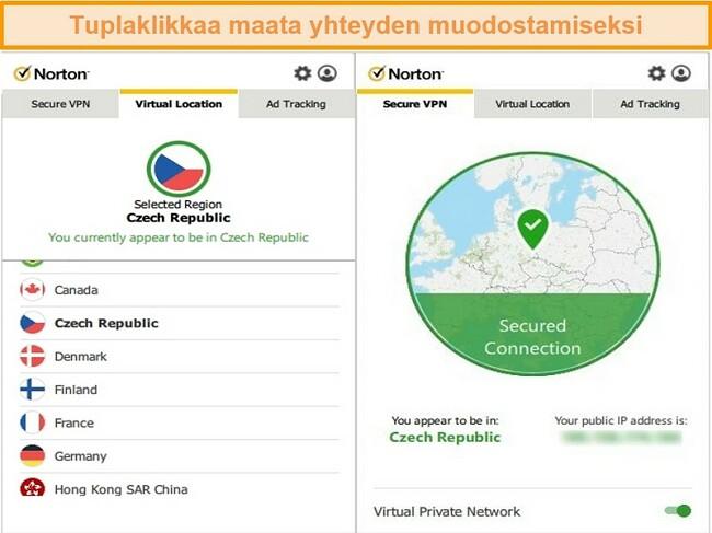 Näyttökuva Norton Secure VPN: stä, joka on kytketty Tšekin tasavallan palvelimeen