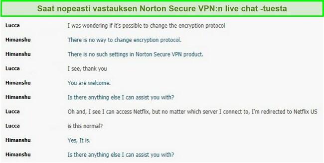 Näyttökuva live-keskustelusta Norton Secure VPN -tuen kanssa