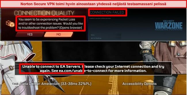 Näyttökuva Norton Secure VPN: stä, joka aiheuttaa online-peleissä yhteysongelmia
