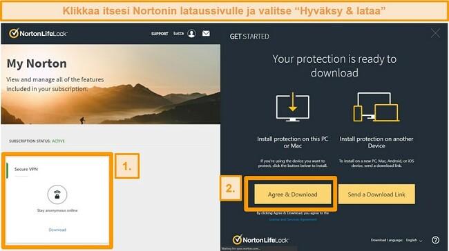 Kuvakaappaukset Norton Secure VPNs My Norton -sovelluksesta ja lataussivut