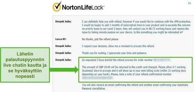 Näyttökuva palautuksen pyytämisestä Norton Secure VPN: n 24/7 live-chatin kautta