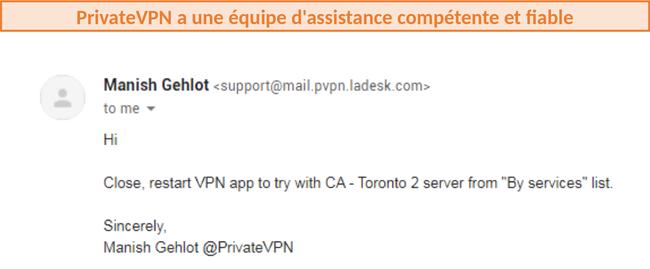 Capture d'écran de la réponse du support client de PrivateVPN recommandant des serveurs