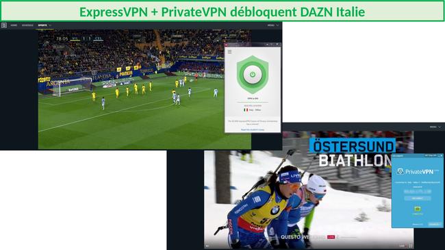 Capture d'écran d'ExpressVPN et de PrivateVPN diffusant avec succès DAZN
