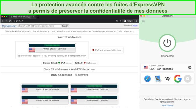 Capture d'écran montrant les fuites IP, DNS et WebRTC transmises par ExpressVPN