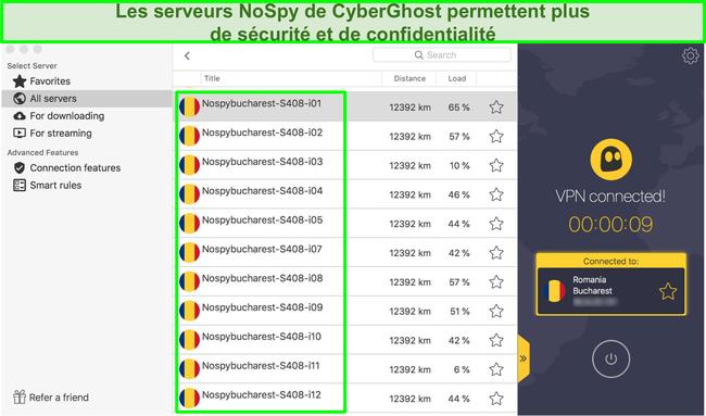 Capture d'écran de l'interface VPN CyberGhost montrant ses serveurs NoSpy