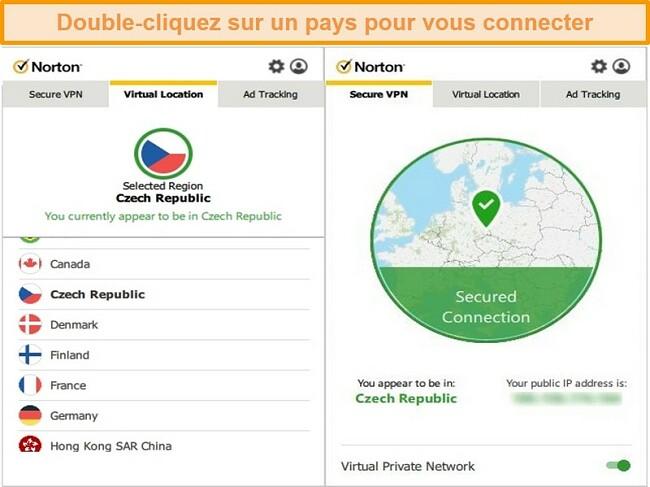 Capture d'écran de Norton Secure VPN connecté à un serveur en République tchèque