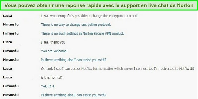 Capture d'écran d'une conversation de chat en direct avec la prise en charge de Norton Secure VPN