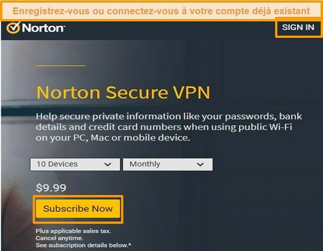 Capture d'écran de la page d'achat de Norton Secure VPN