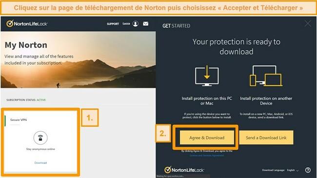 Captures d'écran de Norton Secure VPNs My Norton et pages de téléchargement