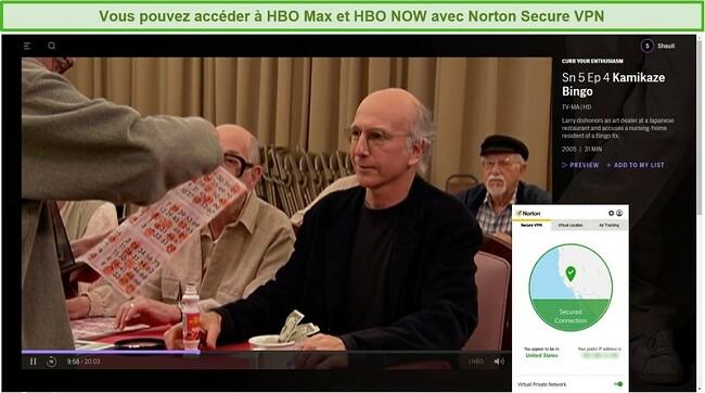 Capture d'écran de Norton Secure VPN débloquant HBO Max et diffusant Curb Your Enthusiasm