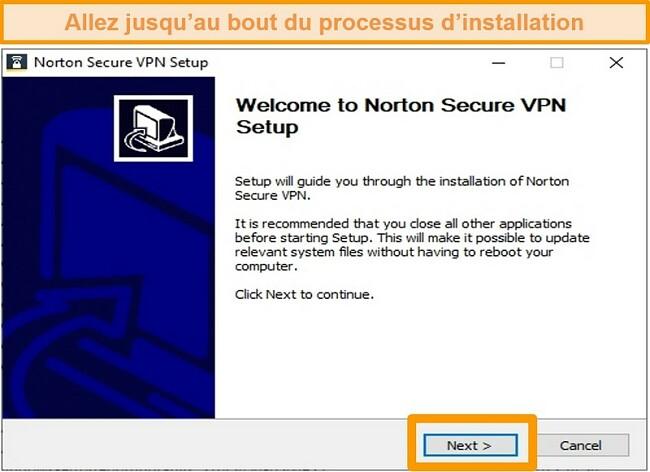 Capture d'écran de la première étape du processus d'installation Windows de Norton Secure VPN